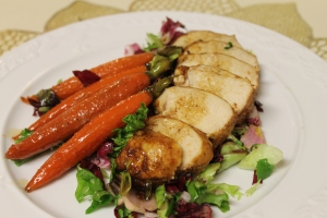 Jerk chicken and glazed carrots